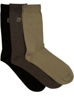Brown 3 Pack Plain Socks