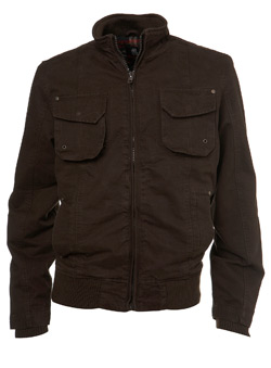 Brown Cotton Zip Jacket