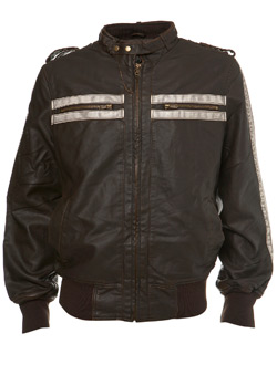 Brown Faux Leather Biker