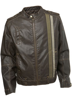 Brown Faux Leather Striped Biker Style Jacket