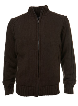 Brown Fleece-Lined Zip Through Jumper