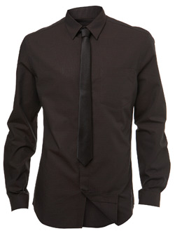 Brown Textured Fitted Shirt and Tie