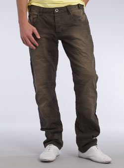 Brown Vintage Tapered Slim Jeans