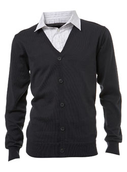 Charcoal 2in1 Shirt Cardigan
