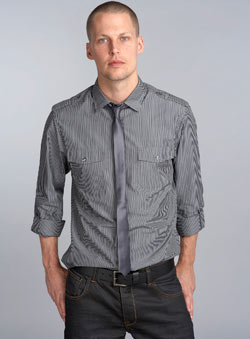Dark Grey Stripe Roll Sleeve Shirt