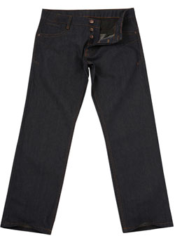 Dark Raw Zip Straight Denim Jeans