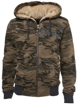 Green Camo Check Faux Fur-Lined Hoodie