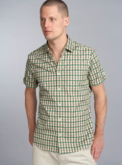 Green Check Short Sleeve Check Fitted Shirt