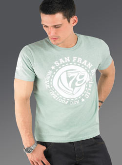Green Marl an FranciscoPrinted T-Shirt