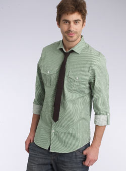Green Stripe Shirt and Tie Set