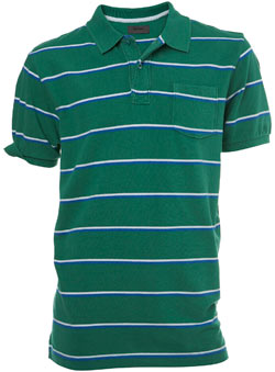Green Striped Pique Polo Shirt