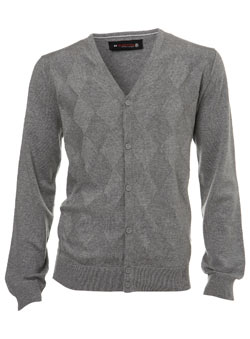 Grey Argyle Textured Cardigan