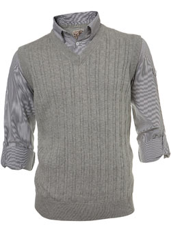 Grey Cable Tank Shirt With Insert