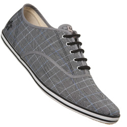 Grey Check Lace Up Sports Shoe