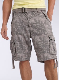 Grey Checked Floral Cargo Shorts