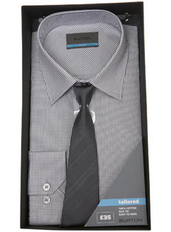 Grey Gingham Shirt and Tie Gift Set