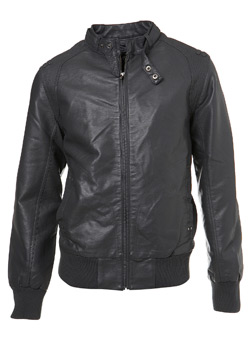 Grey Leather Look Perforated Biker Jacket