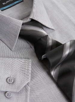 Grey Plain Shirt And Tie