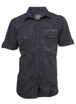 Grey Punk Print Fitted Shirt
