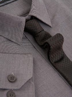 Grey Slim Shirt With Tie