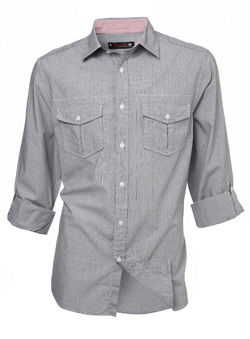 Grey Stripe Roll Sleeve Regular Shirt