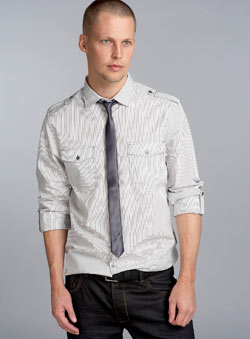 Grey Stripe Roll Sleeve Shirt