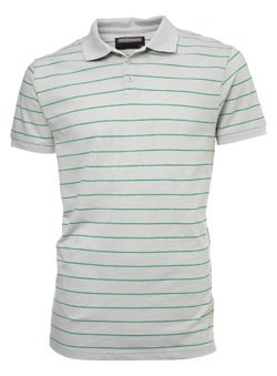 Grey Striped Pique Polo