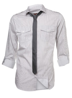 Grey Twinstripe Fitted Shirt and Tie
