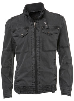 Grey Washed Rib Neck Biker