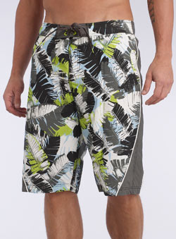 Jungle Leaf Print Swim Shorts
