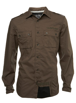 Khaki Double Layer Fitted Shirt
