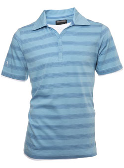 Light Blue Striped Polo Shirt with Insert