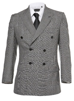 Light Grey Double Breasted Prince Of Wales Jacket