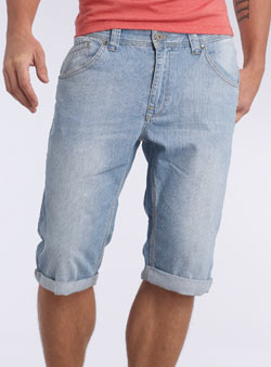 Light Wash Roll Up Denim Cropped Shorts