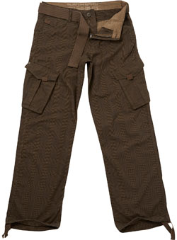 Natural Checked Utility Cargo Trousers