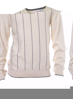 Natural Stripe V-Neck Jumper