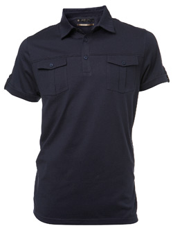Navy Double Pocket Polo Shirt