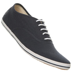 Navy Linen Lace Up Plimsolls