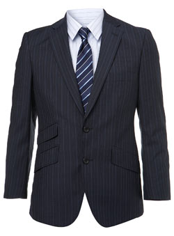 Navy Pinstripe Slim Fit Premium Suit Jacket