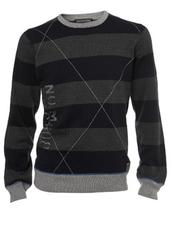 Navy Raker Stripe Crew Jumper