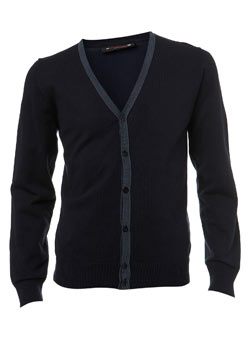 Navy Striped Placket Cardigan