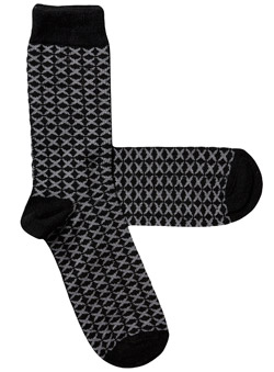 Pack of 1 Black And Grey Geometric Print Socks