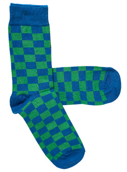 Pack of 1 Green And Blue Check Socks