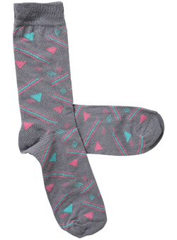 Pack of 1 Grey and Pastel Geometric New Rave Socks