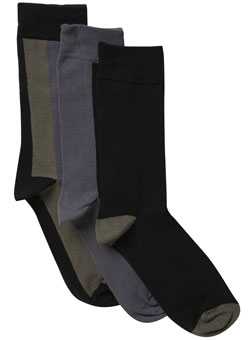 Pack of 3 Black And Grey Striped Socks