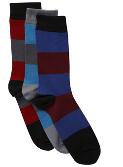 Pack of 3 Block Stripe Socks