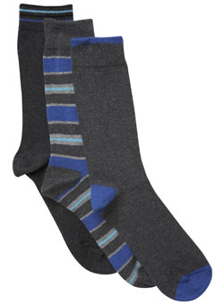 Pack of 3 Blue and Grey Striped Socks