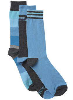 Pack of 3 Blue Chunky Block Stripe Socks