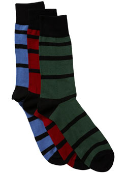 Pack of 3 Bright Bold Striped Socks