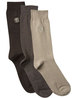Pack of 3 Brown Emblem Socks